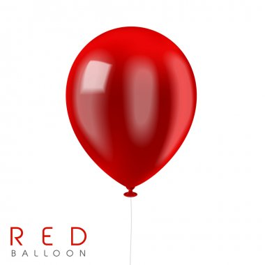 Close up look at red balloon isolated on white stock vector