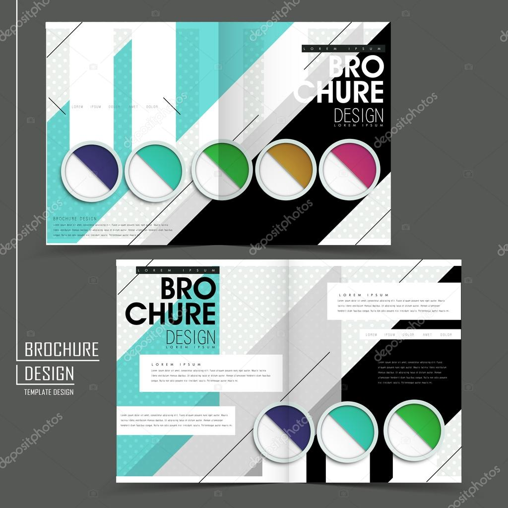 colorful half fold brochure template stock vector kchungtw 59259787