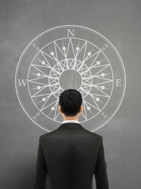 businessman looking at compass