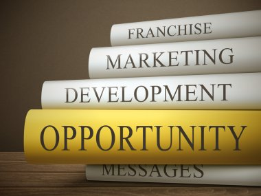 Stack of books with marketing concept
