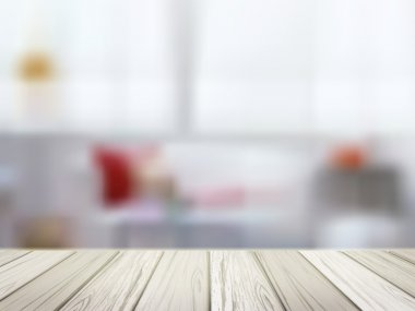 wooden table over blurred kitchen scene