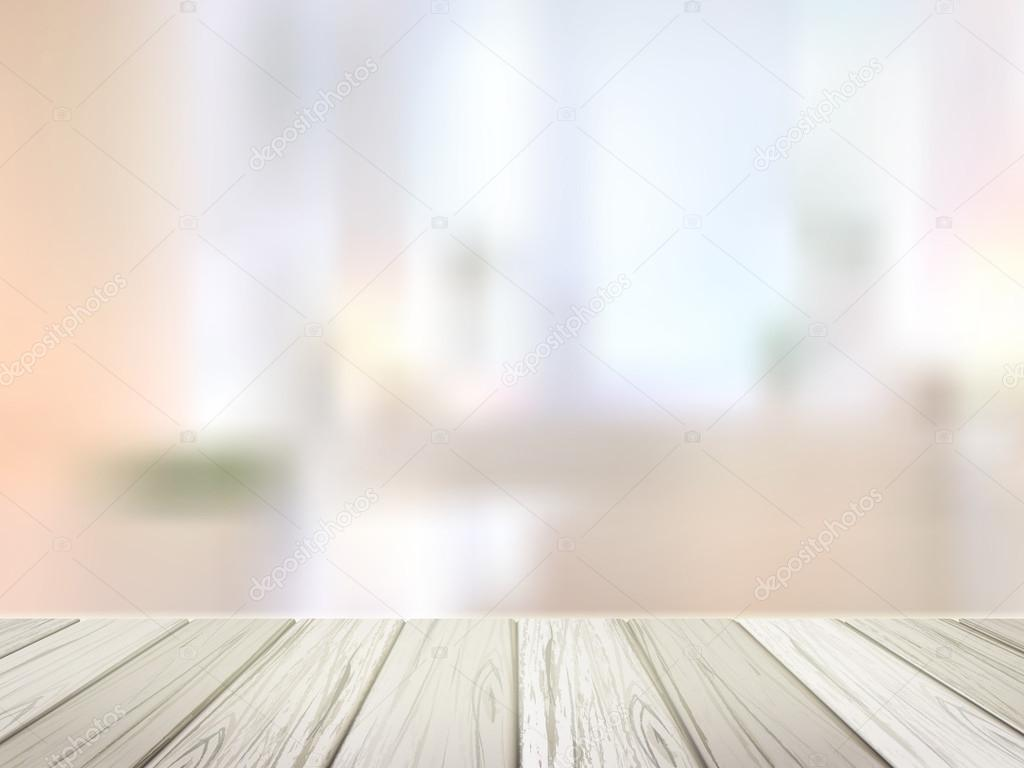 wooden desk over blurred interior scene