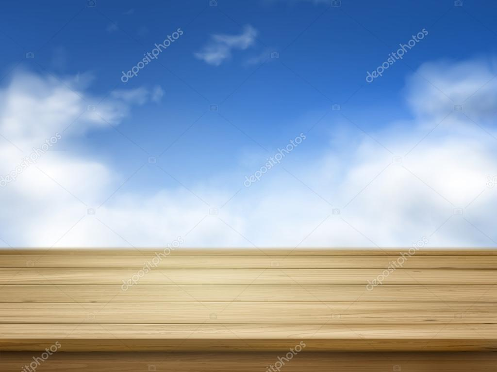 wooden planks isolated on blue sky
