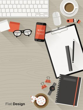 top view of workplace in flat design