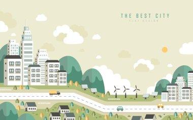 """Картина, постер, плакат, фотообои """"лучший городской пейзаж в плоском дизайне"""", артикул 62316373"""