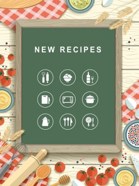 new recipes written on chalkboard in flat design