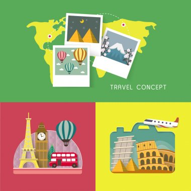 travel concept banners set in flat design