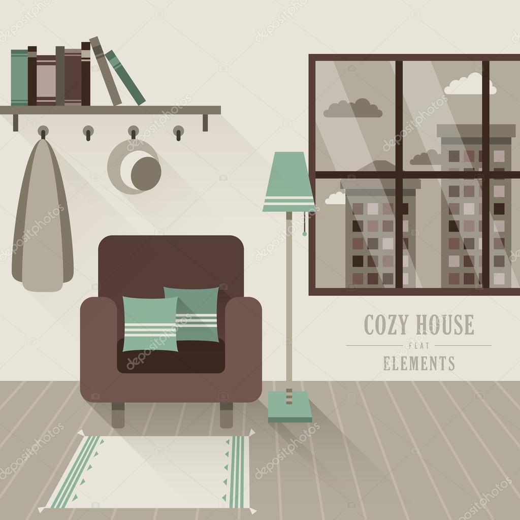 gemütliches Haus innen im flachen Design-Stil — Stockvektor ...