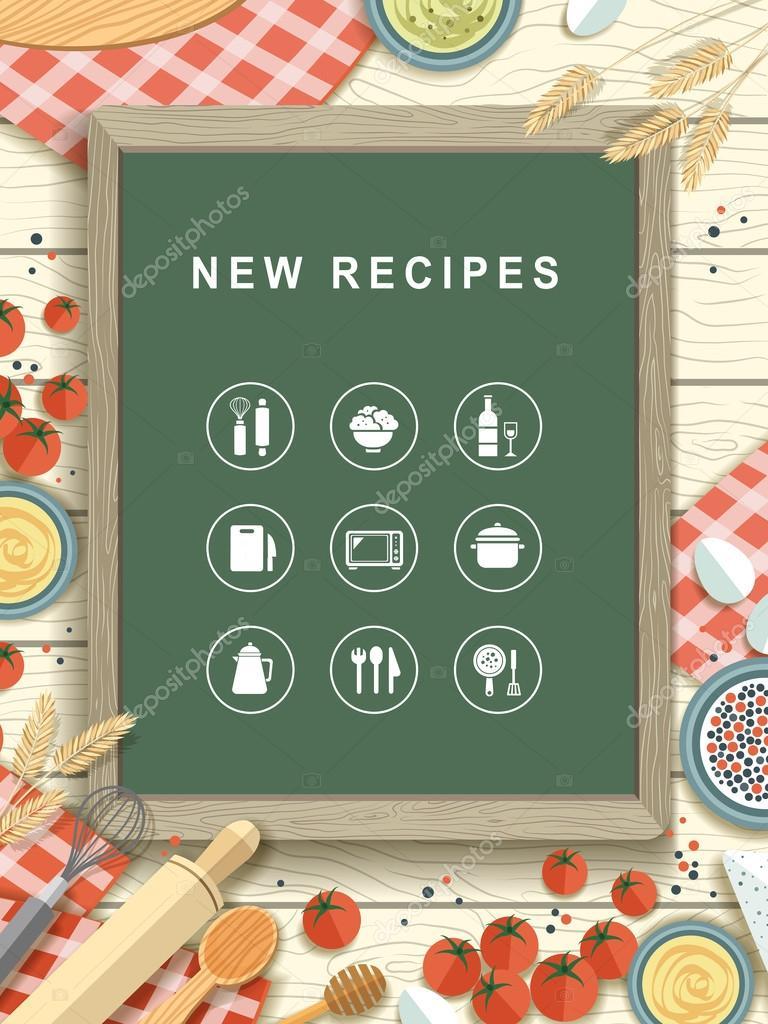 New recipes written on chalkboard in flat design stock vector new recipes written on chalkboard in flat design stock vector forumfinder Images