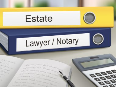 Estate and lawyer, notary binders