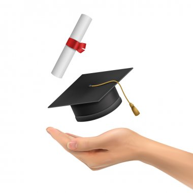 3d hand holding a graduation hat and diploma