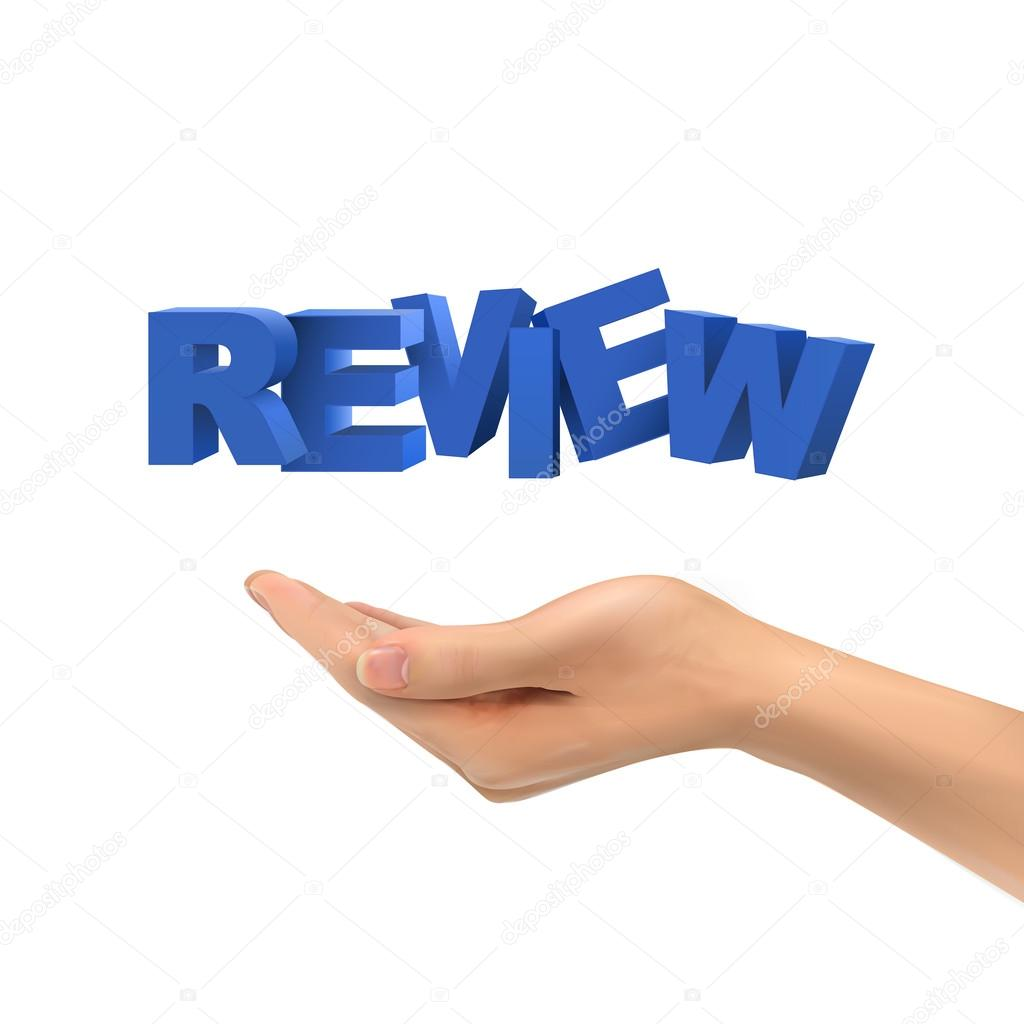 3d hand holding review words