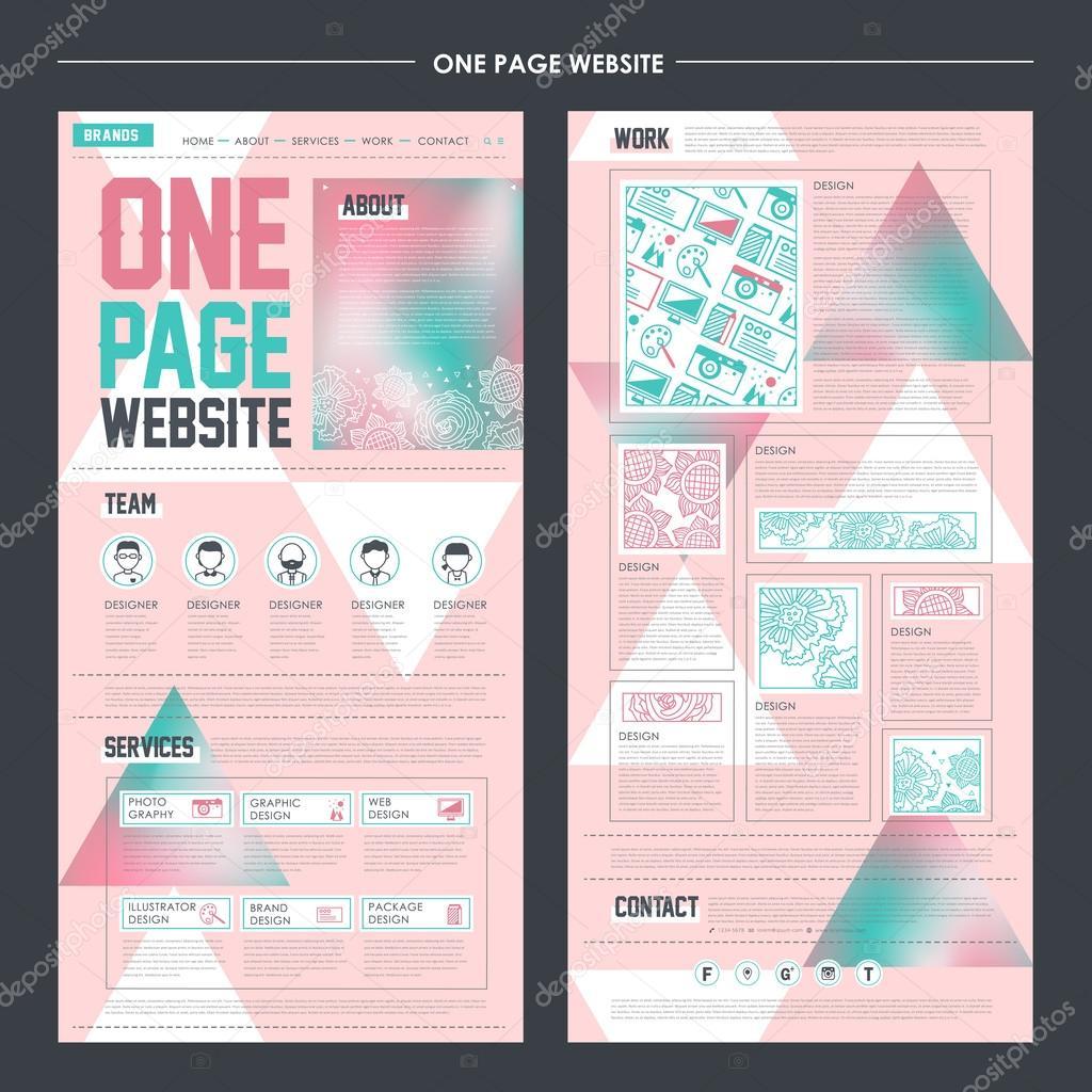 plantilla de sitio web de una sola página de estilo geométrico ...