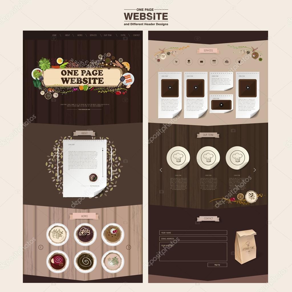 plantilla de diseño de sitio web de una página de cocina concepto ...