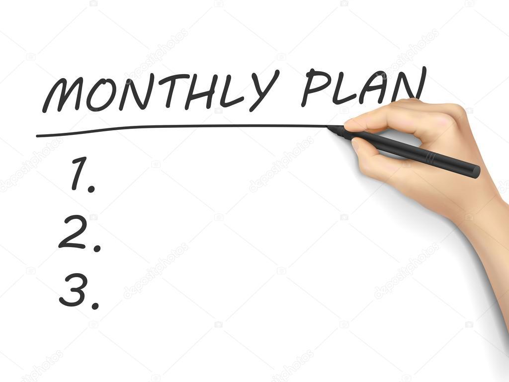 Monatlichen Plan-Wörter geschrieben — Stockvektor © kchungtw #64276287