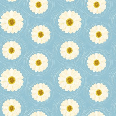 daisies flowers seamless floral pattern