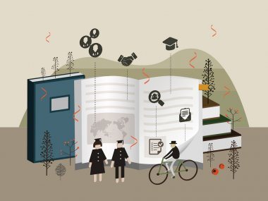flat 3d isometric university graduation illustration
