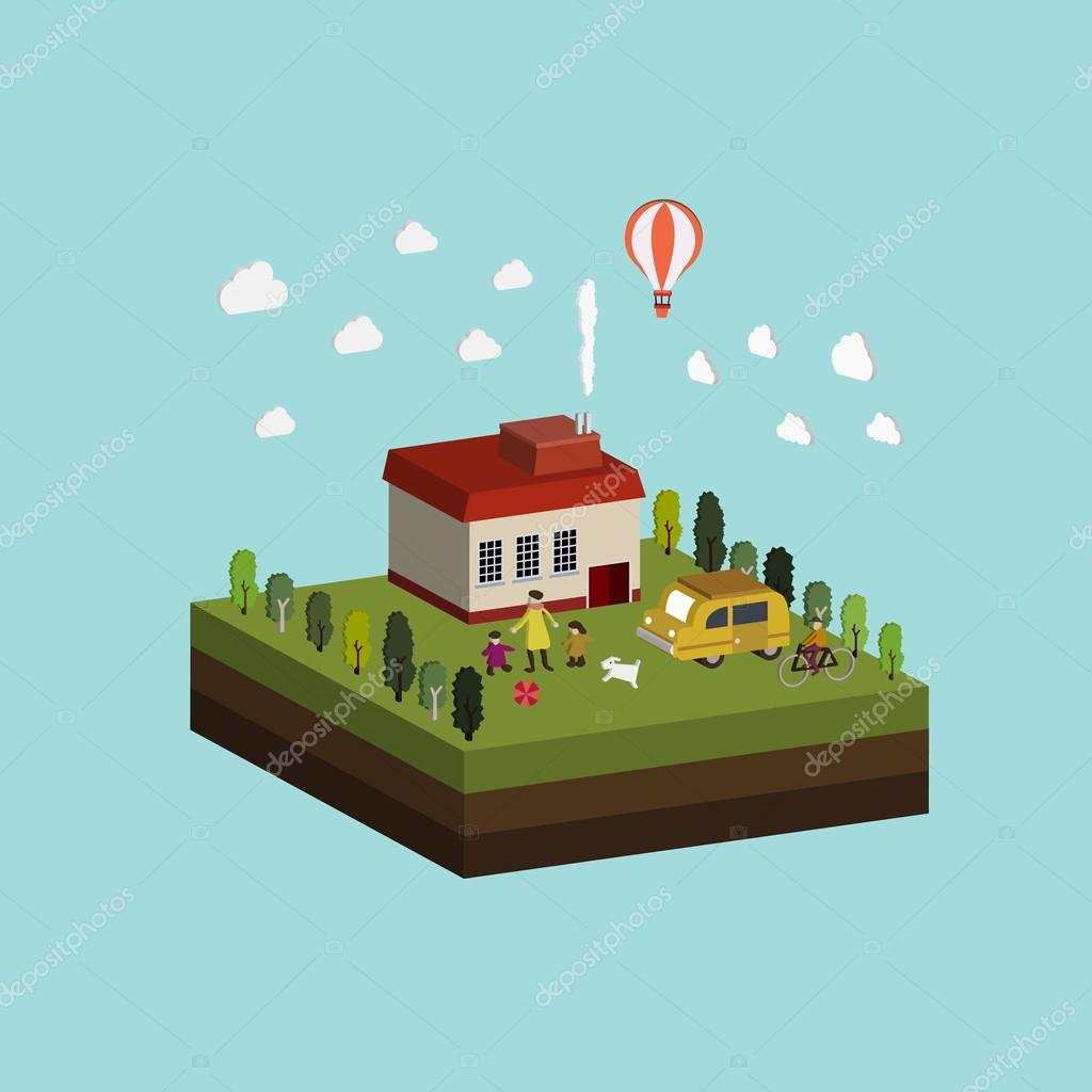 flat 3d isometric life in countryside illustration