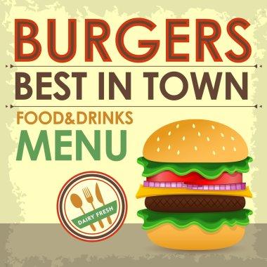 Fast food menu design with hamburger
