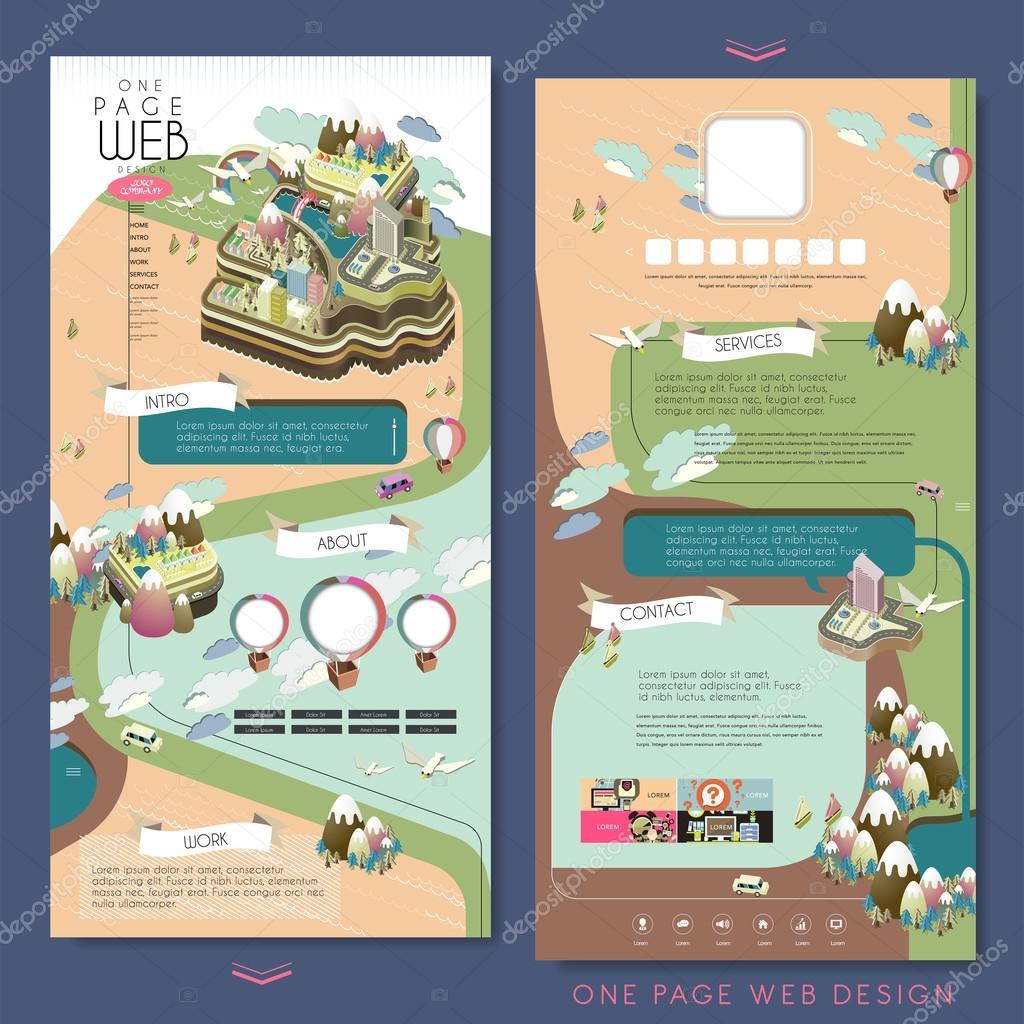 plantilla de diseño de paisaje una página web de la isla — Vector de ...