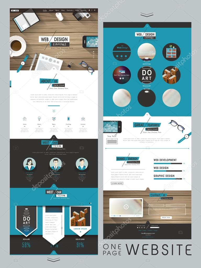 creative one page website design template — Stock Vector © kchungtw ...