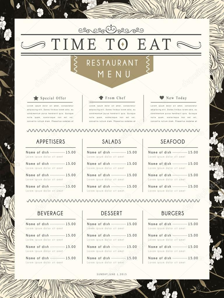 graceful restaurant menu design