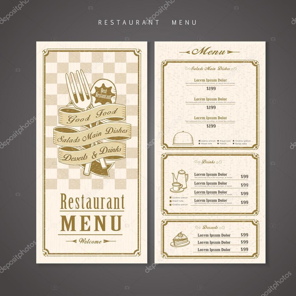 レトロなレストラン メニュー デザイン ストックベクター kchungtw