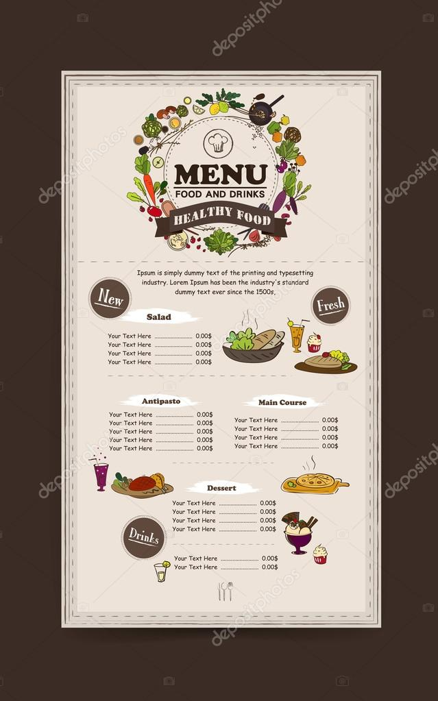 adorable restaurant menu design