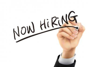 now hiring written by 3d hand