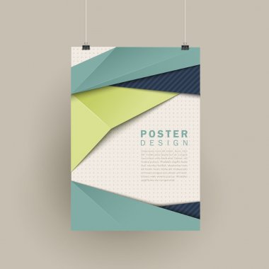 trendy poster design with origami style