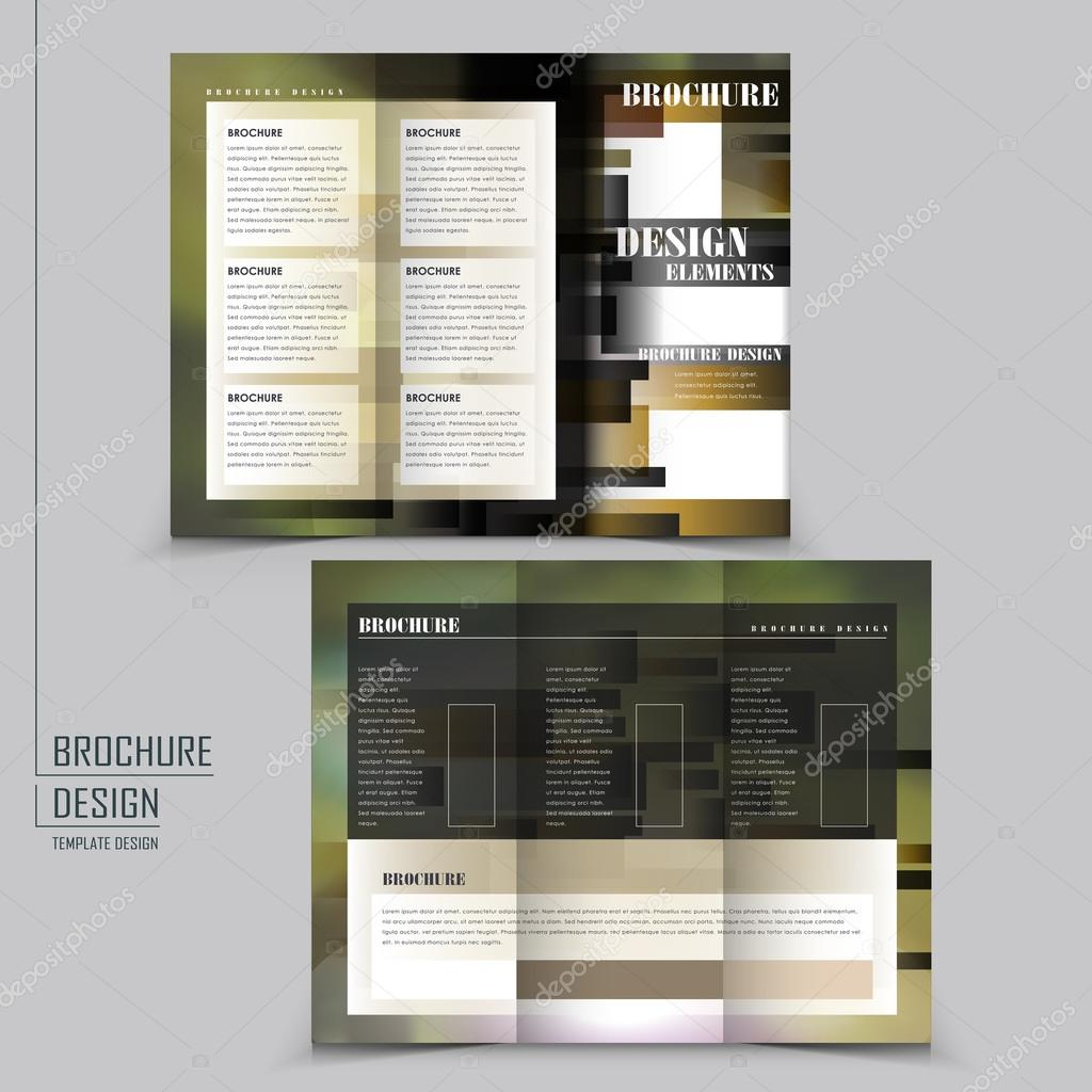 abstract tri fold brochure template design with blurred background vector by kchungtw