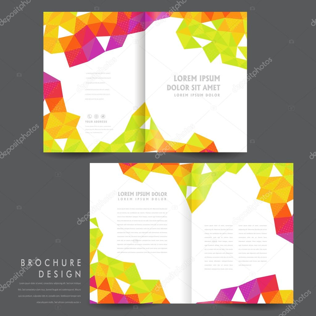 attractive half fold brochure template design with colorful polygon elements over white vector by kchungtw