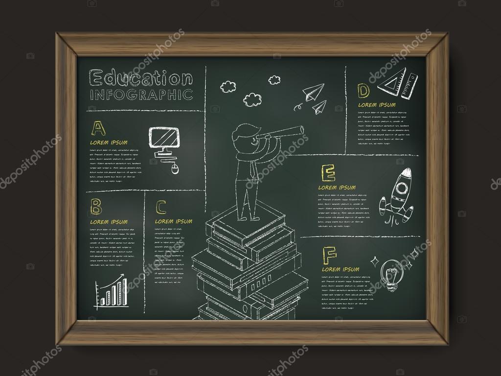 pizarra de educación preciosa infografía madera enmarcado — Vector ...