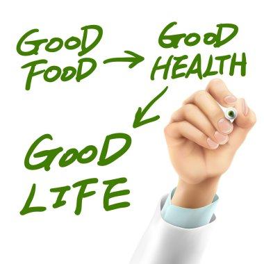 doctor writing life attitude words
