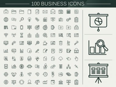 100 business line icons set over beige background stock vector