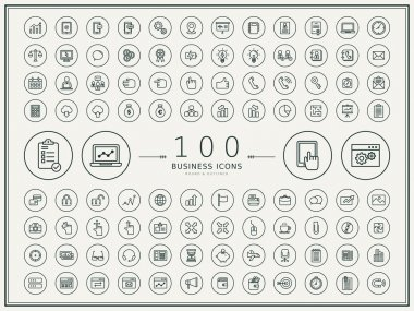 100 business round icons set