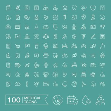 Lovely 100 medical icons set over turquoise background stock vector