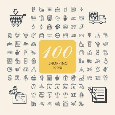 elegant 100 shopping icons set