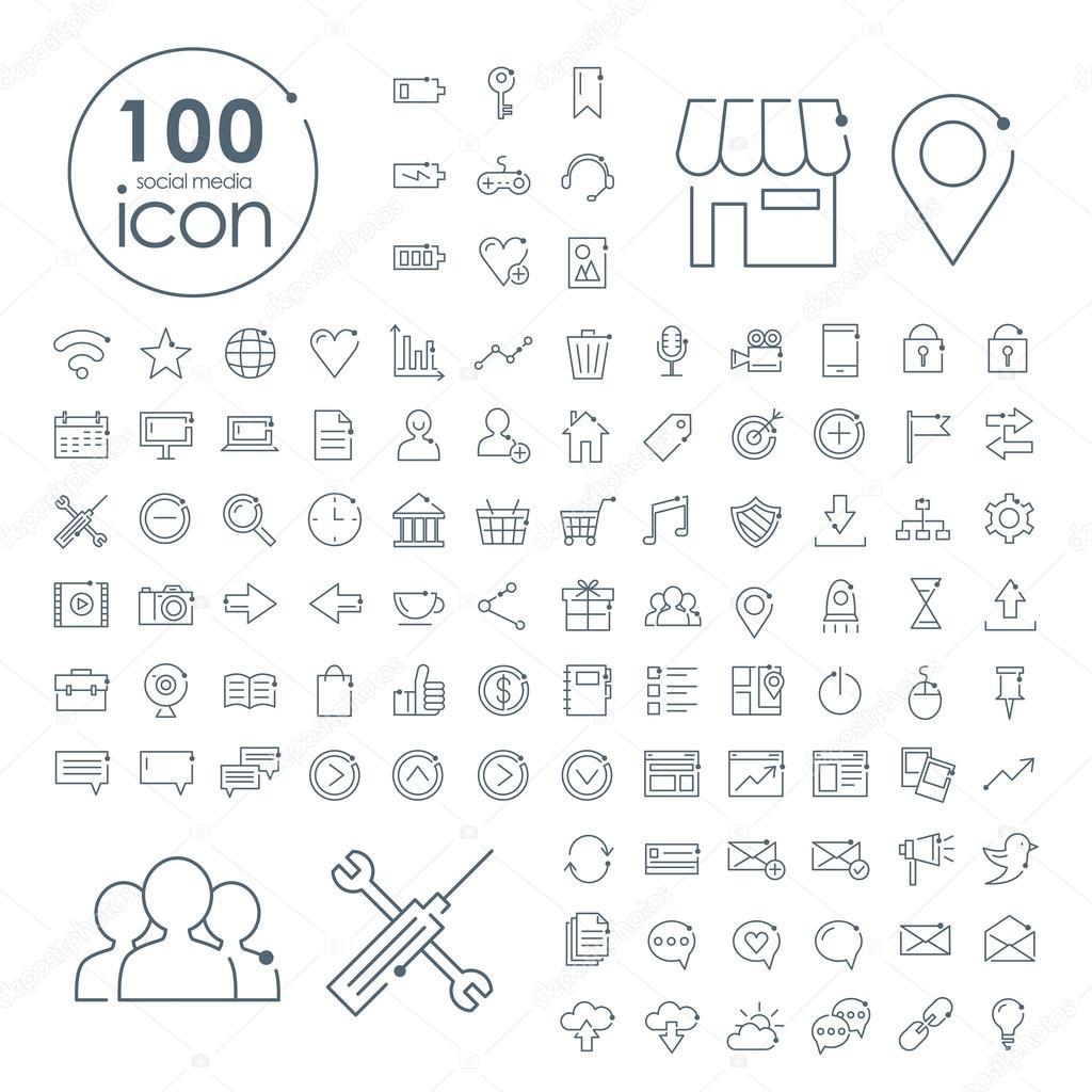 100 social media icons set