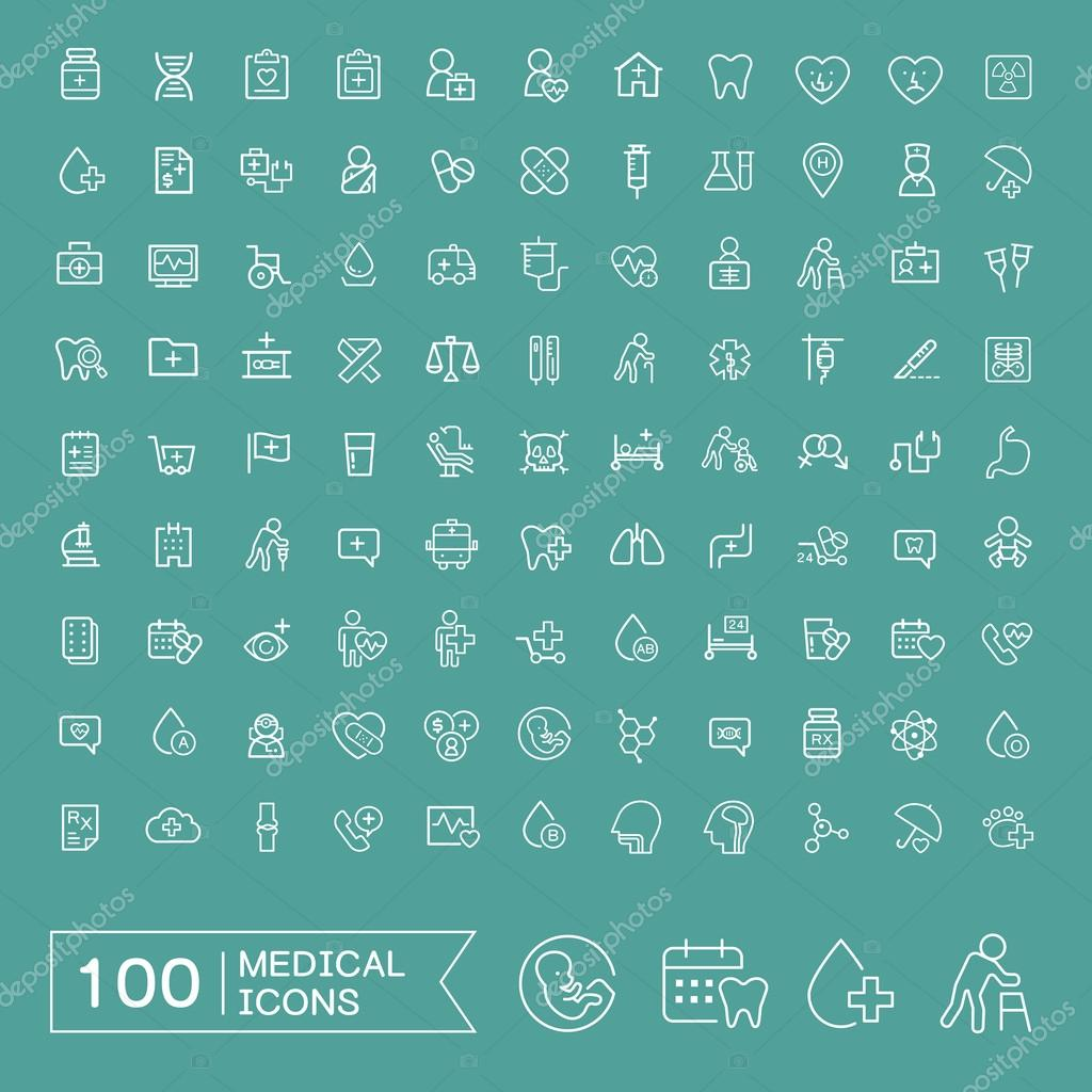 Lovely 100 medical icons set