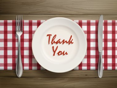 thank you written by ketchup on a plate