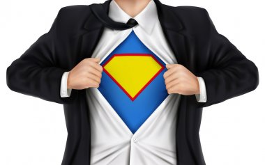 Businessman showing super hero icon underneath his shirt