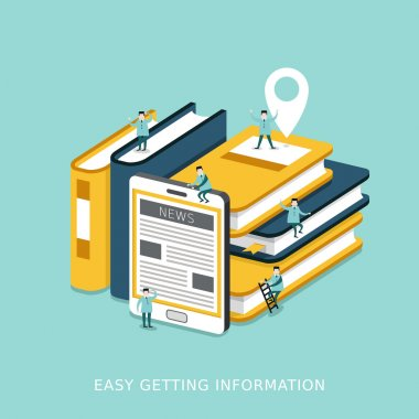 easy getting information concept flat 3d isometric infographic