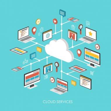 cloud services concept 3d isometric infographic