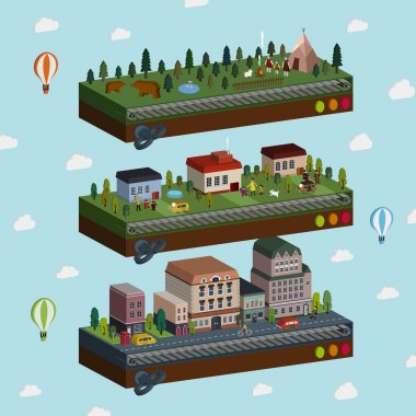 lovely city and outskirts scene 3d isometric infographic