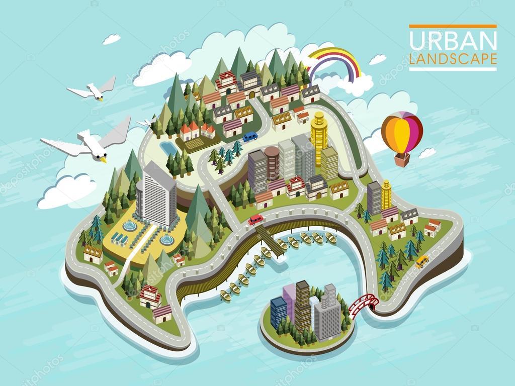 flat 3d isometric infographic for lovely urban landscape