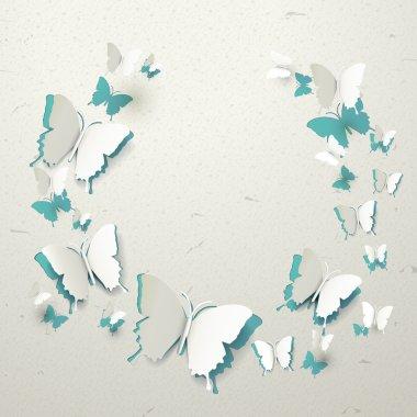 elegant paper butterflies cut-out background
