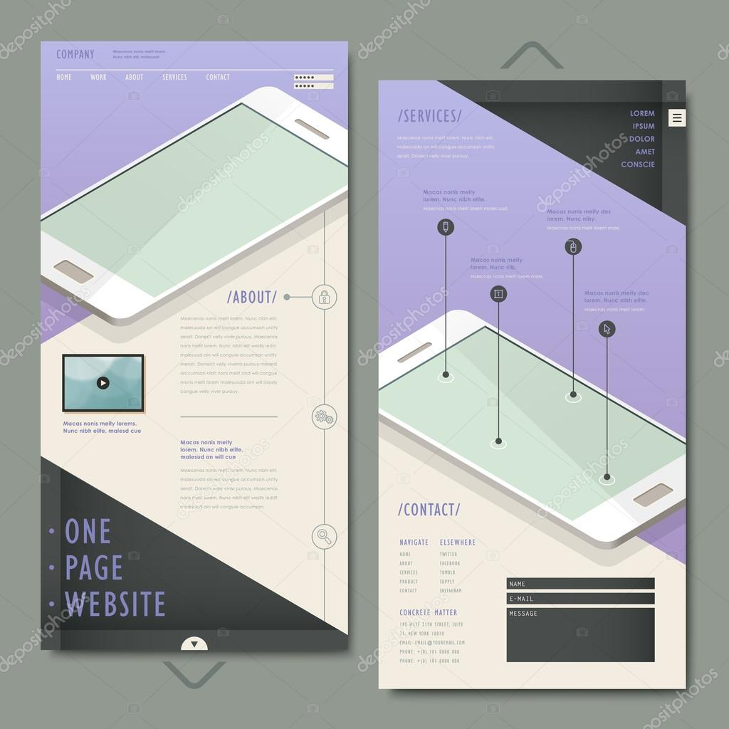 elegant one page website template design with cell phone — Stock ...