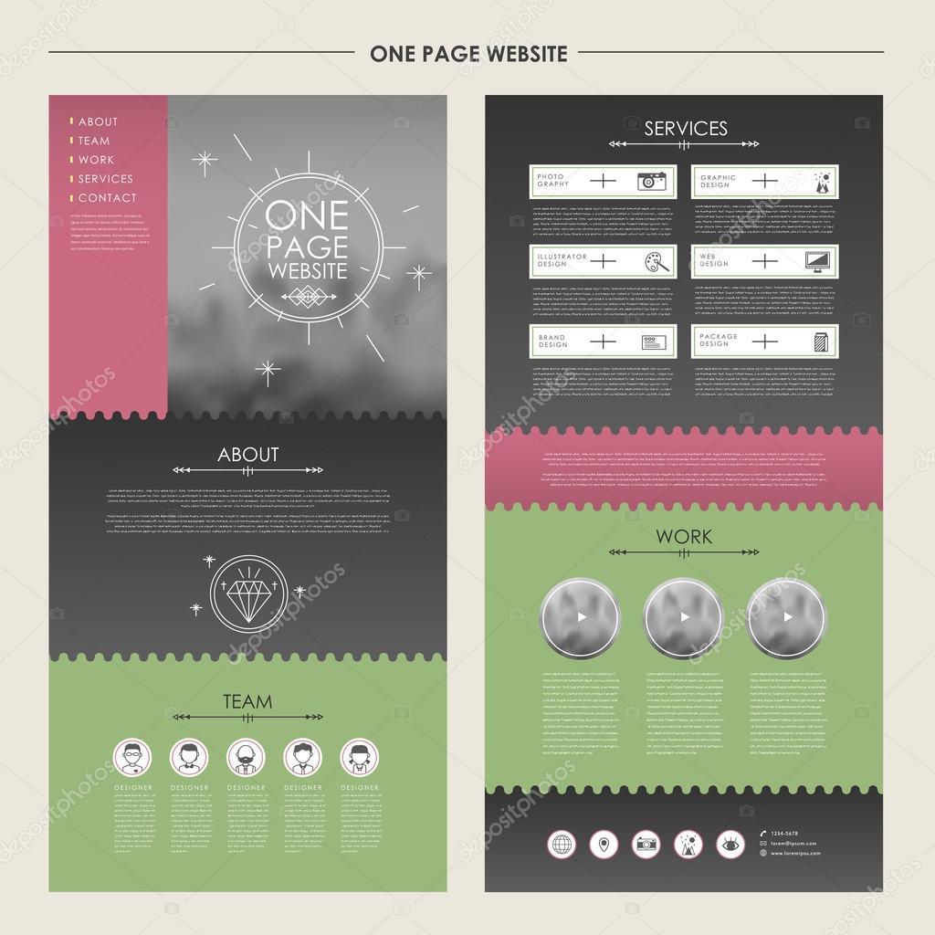 encantador diseño de plantilla de una página web — Vector de stock ...
