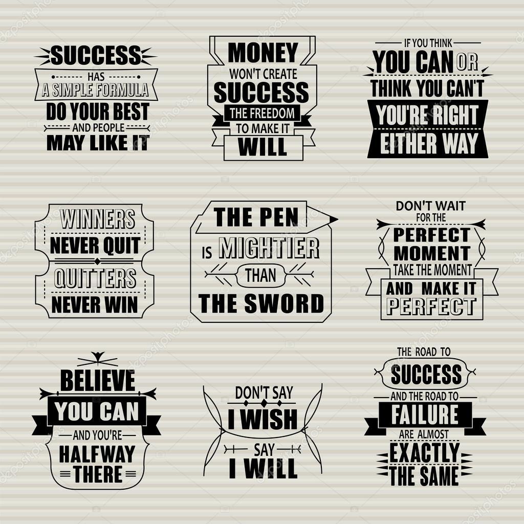 Zestaw Motywacyjny I Inspirujące Cytaty Sukcesu Grafika Wektorowa